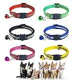 MELARQT Katzenhalsband, Katzenhalsbänder mit Glocke, Welpenhalsbänder, Katzenhalsband Reflektierendes, Verstellbar 20–30 cm, Coole Halsbänder für Hauskatzen, Kleine Hunde - 6 Stück
