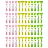 WELLGRO Wäscheklammern Set mit Soft-Grip und starker Spiralfeder - Kunststoff/Metall verzinkt, breite Fläche zum Drücken, bunt, Blumen Design - Mengen wählbar, Stückzahl:48 Stück