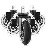 Office Sky Rollerblade Style Gummi Ersatz Räder, Bürostuhl Caster Wheels für Ihren Schreibtisch Stuhl, Ruhige Rollläden Perfekt für Hartholz Fußböden, Teppich, Laminat und Fliesen - Set von 5