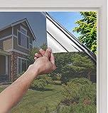 rabbitgoo Fensterfolie Selbsthaftend Sonnenschutz Folie Hitzeschutz Reflektierende Aufkleber Sichtschutzfolie für Fenster Zuhause Und Büro Wärmeisolierung Tönungsfolie UV-Schutz 60 * 200 cm