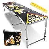 Hengda Beer Pong Tisch LED Bierpong Tisch mit LED Beleuchtung |Becherlöcher| 6 Bier Pong Bälle Stabil Trinkspiele Kratz- und Wassergeschützt