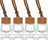 Babioms 4pcs Auto Parfüm Flasche,Auto zum Aufhängen Parfüm leer Glas Flasche Glasdiffusorflaschen , Ätherische Öl Duft Reed Halter   10ml ,Autoparfüm Autoduft Parfüm Flasche