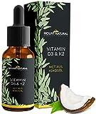 Vitamin D3 & K2 (Cholecalciferol & MK7-All-Trans)-NACHGEWIESENER VITAMINGEHALT!- BEIDE Vitamine hochdosiert 1000 IE/25 µg - Flüssig 900 Tropfen in MCT-Öl aus Kokos - Laborgeprüft, ohne Zusatzstoffe