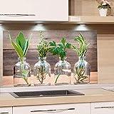 GRAZDesign Küchenrückwand Glas-Bild Spritzschutz Herd Edler Kunstdruck hinter Glas Bild-Motiv Gewürze Eyecatcher für Zuhause / 80x50cm