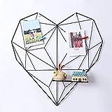 Wandgitter für Wanddekoration, Fotoraster für Foto-Display, DIY Message Board, Metallwandgitter mit zufälliger Farbe PU-Lederschnallen, Bulldog-Clips und Nägeln (Schwarz, Heart 50 x 50 cm)