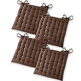 Gräfenstayn® 4er-Set Baumwoll-Sitzkissen 40x40x5cm mit Haltebändern für Indoor und Outdoor mit Öko-Tex Siegel - (Braun)