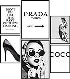 Papierschmiede® Premium Poster Set Coco Schwarz-Weiß   6 Bilder als stilvolle Wanddeko   2X DIN A4 und 4X DIN A5   Glamour Lifestyle Mode