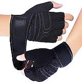 Fitness Handschuhe, Trainingshandschuhe, Gewichtheben Handschuhe für Damen und Herren - Ideal für Fitness, Gewichtheben, Radfahren und allgemeines Work-Out (L, Schwarz)
