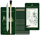 Faber-Castell 119065 - Bleistift CASTELL 9000, 12er Art Set, Inhalt 8B - 2H (12er Art Set + Estompe + Radierstift)