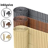 Ribelli® PVC Sichtschutzmatte Sichtschutzzaun Sichtschutz Zaun Balkon Windschutz (80 x 300 cm, Bambus)