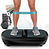 Sportstech 3D Vibrationsplatte VP300 | Mega Fett-Verbrenner + 5 Fitness-Bänder Extra | Riesige Fläche +2x1000W max Motor Leistung + Bluetooth Lautsprecher+Remote & Poster | Fitnesstraining von Zuhause