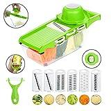 Jazz Pose 6 in 1 Gemüseschneider, Gurkenhobel, Mandoline, Reibe mit Container und Schäler für Salat Gemüse, Kartoffeln, Karotten, Zwiebeln, Gurken, BPA freie (Green)