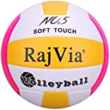 Rajvia Beachvolleyball Soft Touch Volleyball offizieller Größe 5, Volley Ball für Outdoor/Indoor-Spiel (Rot&Gelb)