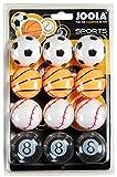 JOOLA Tischtennisballset Sports – 12 Tischtennisbälle im Sportdesign, 40 Millimeter 3 Stern Trainingsqualität, gleichmäßiger Ballabsprung, langlebig, für Kinder und Erwachsene, bunt,