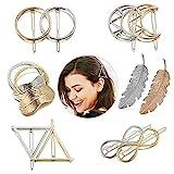 Ealicere Metall Haarklammern Haar Pin Spangen, 12 Stück Haarspangen Haarnadeln Blatt,Feder,Kreis,Dreieck,Infinity,Moon Haarspange für Mädchen Dickes Haarstyling