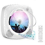 Gueray Tragbarer CD-Player für Wandmontage mit Bluetooth HiFi Lautsprecher Fernbedienung LED-Display Unterstützt FM-Radio USB-Player mit 3,5 mm Kopfhöreranschluss mit Staubschutzhülle
