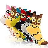 WOSTOO Damen Socken, 6 Paar Socken Damen süße Interessante Tier Charakter Papagei Funny Crew Socken