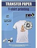 PPD Inkjet T-Shirt Transferpapier Transferfolie Bügelfolie für Tintenstrahldrucker und helle Textilien DIN A4 x 20 Blatt PPD-1-20