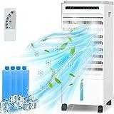 QUARED Mobile Klimagerät Klimaanlage Luftkühler leise Ventilator mit Fernbedienung/Luftbefeuchtung Luftreiniger mit 3,5 Millionen Negative Ionen/3 Windgeschwindigkeiten und 3 Modi/1-7h Timing