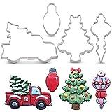 KENIAO Weihnachten Ausstechformen Set - 4 Stück - Kleintransporter mit Weihnachtsbaum, Weihnachtsbaum mit Bogen, Weihnachts Glühlampe und Weihnachtsverzierung Fondant Keksausstecher - Edelstahl