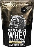 nu3 Performance Whey Protein - Vanille Geschmack 1 kg Proteinpulver - Eiweißpulver mit guter Löslichkeit - 22,5 g Eiweiß je Shake - plus Whey Isolate & BCAA - Vanilla Blend - geeignet für Muskelaufbau