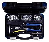 Rapid Blindnietzange RP40 Multi Koffer inkl.  150 Nieten und 3 Bohrern, für ALU und Edelstahlniete von 3,2 - 4,8 mm