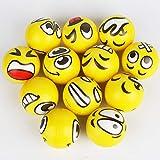 Anti-Stressball Emoji mit Lustigen Gesichtern, 12 Stück Stress Ball Knautsch Knet Smiley Grimasse Stressabbau Anti-Stress-Bälle, Ideale Aktivität in Innenräumen für Kinder und Erwachsene (Gelb)