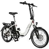 AsVIVA E-Bike 20', Faltrad (15,6Ah Samsung Akku), Klapprad, 7 Gang Shimano Kettenschaltung, Bafang Heckmotor, Scheibenbremsen, weiß