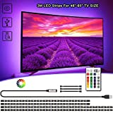 LED TV Hintergrundbeleuchtung 3M, VOYOMO Upgrade Version USB LED Lichtleiste mit 24-Key Fernbedienung für Großer Fernseher 46-65 Zoll, PC, Spiegel und Küche Deko usw