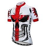Weimostar Radfahren Jersey Männer Mountainbike Trikot Full Zip Fahrrad Shirt Laufende Top Road MTB Kleidung Schädel rot Größe XL