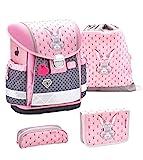 Belmil Schulranzen Set 4 - teilig ergonomischer Schulranzen Mädchen 1. klasse 2. klasse 3. klasse - Super Leicht 860-950 g/Grundschule/Hase grau rosa (403-13 Bunny)
