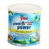 for you Power Eiweiß nach Strunz I Eiweißpulver Vanille 750g I Eiweisspulver mit Carnitin Whey-Protein Sojaprotein Milchprotein I Biologische Wertigkeit 156 I Mehrkomponenten Protein Pulver