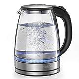 HadinEEon Wasserkocher 1,7 l Glaswasserkocher (BPA-frei) Schnurlos mit LED-Anzeigelampen, 2200W tragbarem Elektro-Warmwasserkessel, automatischem Abschaltschutz, Edelstahldeckel und -boden