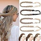 Briads Extensions Haar geflochtene Haarverlängerung Stirnband klassische klobige breite geflochtene Zöpfe elastische Stretch Haarteil Frauen Mädchen Beauty-Accessoire Hellbraun