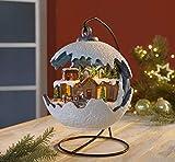 Westfalia LED Weihnachtskugel Fensterdekoration mit fahrendem Zug Licht und Musik 3 Batterien