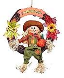 HEITMANN DECO Herbstkranz mit Vogelscheuche - Herbstdeko, Türkranz zum Aufhängen mit Laub - Braun, Orange, Gelb, Grün - Ø ca. 32 cm