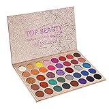 Beste Lidschatten Palette Nudetöne - Vegane Augenpalette - Eyeshadow Make Up Kosmetik - 39 Hochpigmentierte Warme Natürliche Farben in Matt + Schimmer + Glitzer -