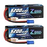Zeee 3S LiPo Akku 11,1V 80C 5200mAh Lipo Batterie mit EC5 Steck für RC Auto, RC Flugzeug, RC Hubschrauber, RC Hobby (2 Packungen)