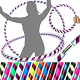 Pro HULA HOOP Reifen für Anfänger und Profis (10 Farben Ultra-Grip/Glitter Deco) Faltbarer TRAVEL Hula Hoop ideal für Hoop Dance, Fitness Training! - Gewicht 650g (Weiß / Lila Glitter 100cm/25mm)