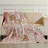 ENCOFT Quilt Tagesdecke 100% Baumwolle Bettüberwurf Steppdecke Patchwork Bettdecke (150 x 200 cm, Pink)