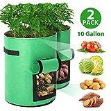 Tvird Pflanzen Tasche,Kartoffel Pflanzsack Pflanzbeutel 10 Gallonen mit Griffen und Sichtfenster Klettverschluss,dauerhaft AtmungsaktivBeutel Gemüse Grow Bag Pflanztasche -2 Pack(Grün)