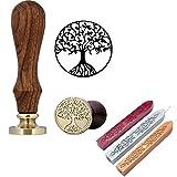 Mogoko Rosenholz achs Siegelstempel Stempel mit Gravur Baum des Lebens,incl. 3 Stangen Mix Farben Siegelwachs