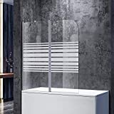SONNI Duschwand für Badewanne 120x140cm (BxH) Milchglas Streifen mit Stabilisator,Duschwand Badewannenaufsatz, Duschtrennwand
