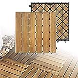 LARS360 Holzfliesen Bodenfliese Terrassenfliesen Balkonfliesen Bodenbelag mit Klicksystem und Drainage Akazien-Holz Deck Fliese für Terrassen Balkon Garten (5 m² (55 Stück), Model A)