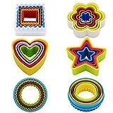 Kaishan Ausstechformen-Set aus Kunststoff, in verschiedenen Formen (Sternform, Blumenform, runde Form, quadratische Form, Herzform), BPA-frei, bunt, Set mit 25Stück