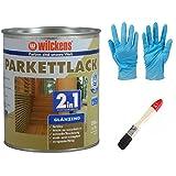 2 in 1 Hartlack Parkettlack, Grundierung und Lackierung inkl. 1 Pinsel von E-Com24 750 ml glänzend