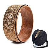 Kork Yoga Rad, natürliche und bequeme Pilates Dharma Requisiten zur Verbesserung der Flexibilität, Set Montagetasche (B)