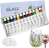 Magicdo® 12 Farben Glasfarben mit Palette, professionelle Glasfarbe Set, hochwertige ungiftige Acrylfarbe für Glas, Multi-Surface Satin Glas Craft Paint Set, reiches Pigment (12 x 12ML)