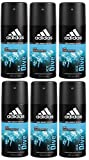 adidas Ice Dive Deo Body Spray für Herren - langanhaltendes Frischegefühl ohne Aluminium, 6er Pack (6 x 150 ml)