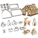 JiangLin 18 Stück 3D Weihnachten Ausstechformen, Ausstechform Weihnachten Set Edelstahl Ausstecher Set für Keks, Plätzchen, Fondant Ausstecher Backzubehör für Weihnachten Torten Kekse Backen
